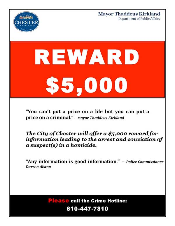 reward for information city of chester
