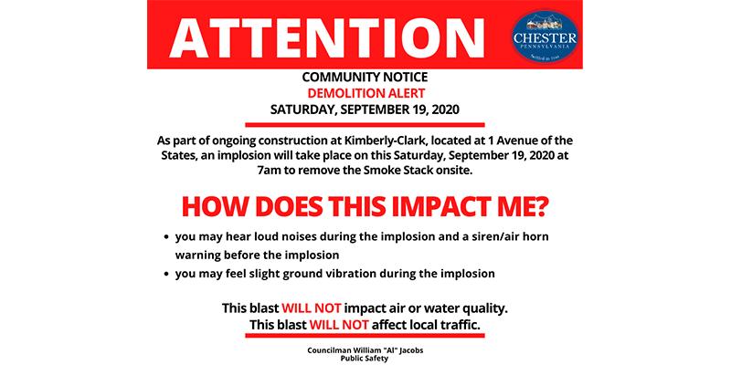 Community Alert: Stack Blast at Kimberly- Clark